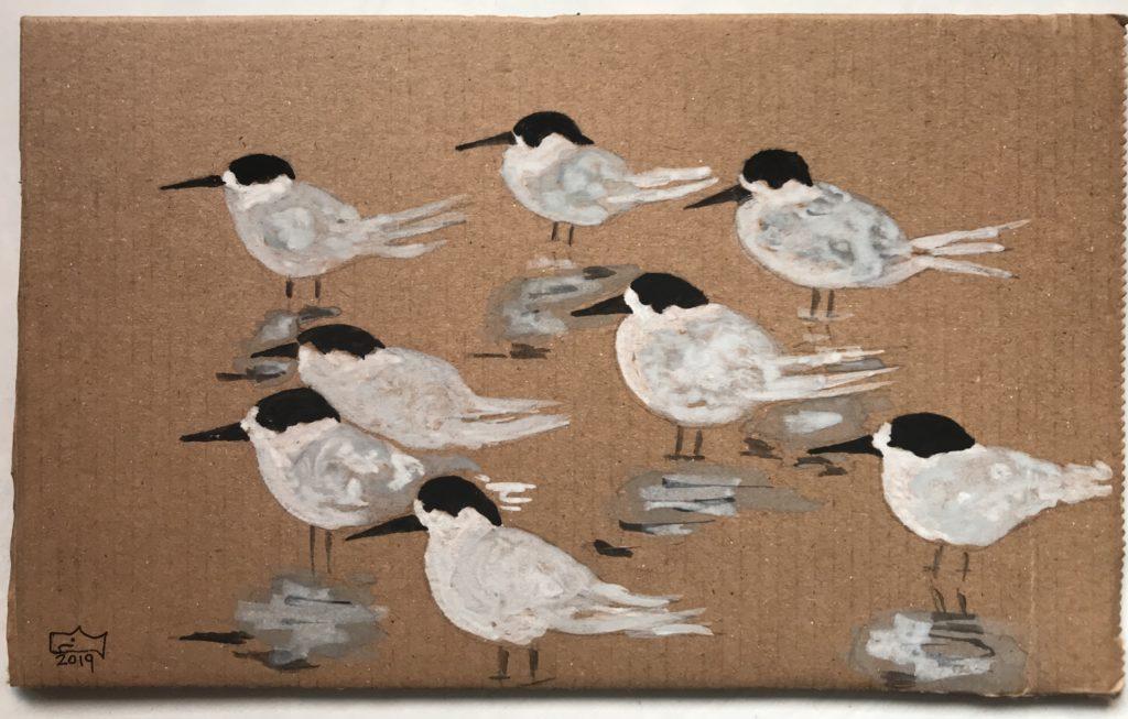 Acquerello di Marco Verdone su cartone riciclato